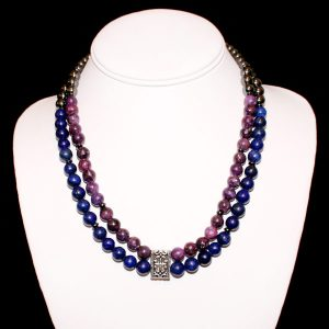 Lepidolite Lapis Dream Necklace - Genuine Lepidolite & Lapis Lazuli Stones