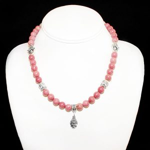 Rhodochrosite Awareness Necklace